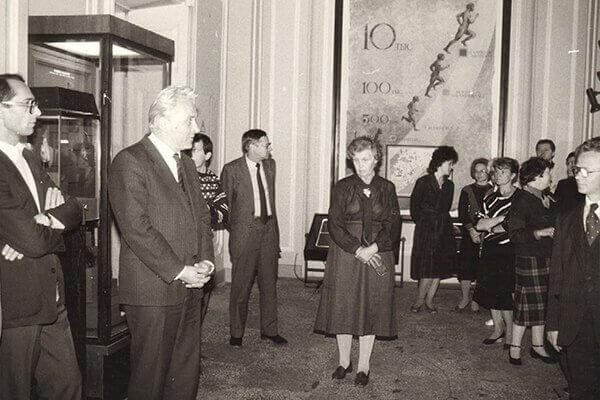 Выступление заместителя директора В.А.Суслова на открытии экспозиции. 1988.