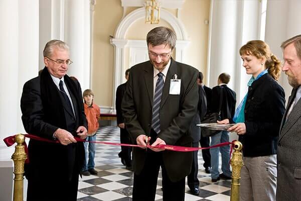 Открытие постоянной экспозиции в залах 27-32. М.Б.Пиотровский, Н.Н.Николаев, С.В.Панкова, А.Ю.Алексеев. 2009