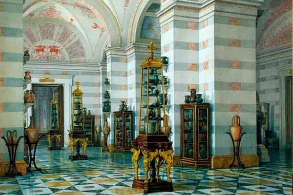 Зал древностей Боспора Кимерийского. Акварель К.А.Ухтомского. 1853